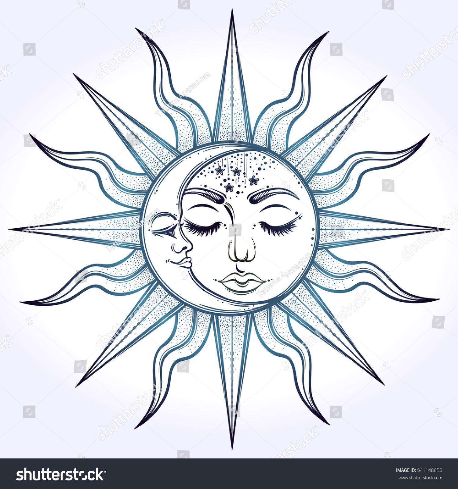 bohemian hand drawn sun moon vector のベクター画像素材