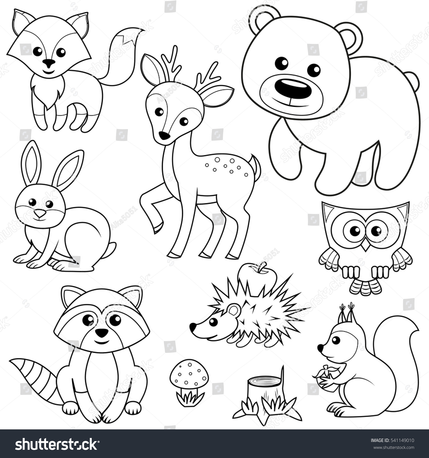 Line Drawings Of Woodland Animals : Forest animals fox bear raccon hare stock vector