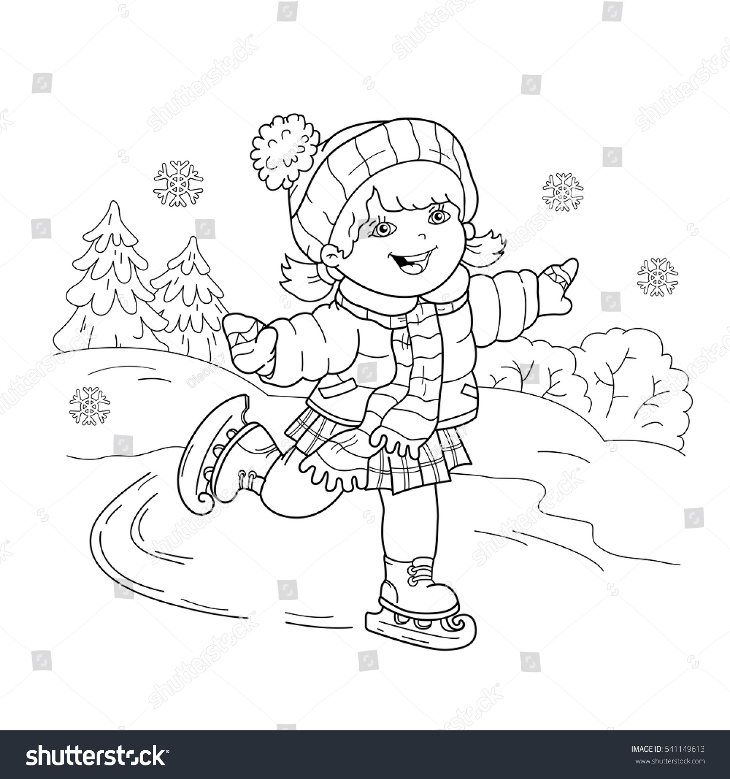 Coloring Page Outline Cartoon Girl Skating Stock Vector