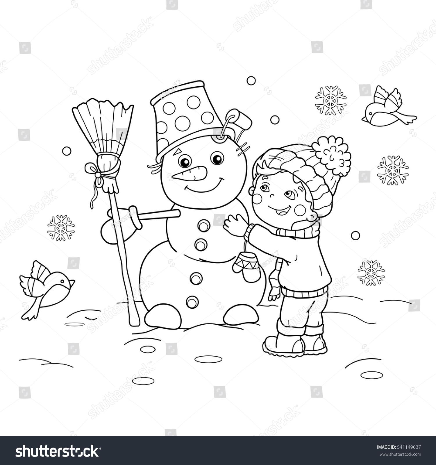 coloring page outline cartoon boy snowman stock vector 541149637