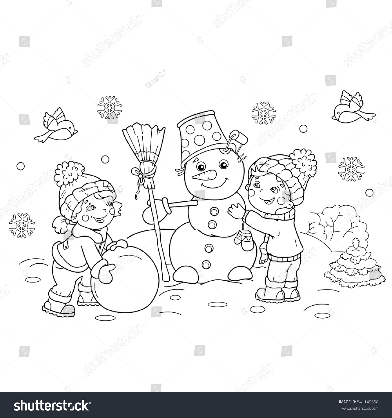 Coloring book for girl - Coloring Page Outline Of Cartoon Boy With Girl Making Snowman Together Winter Coloring Book