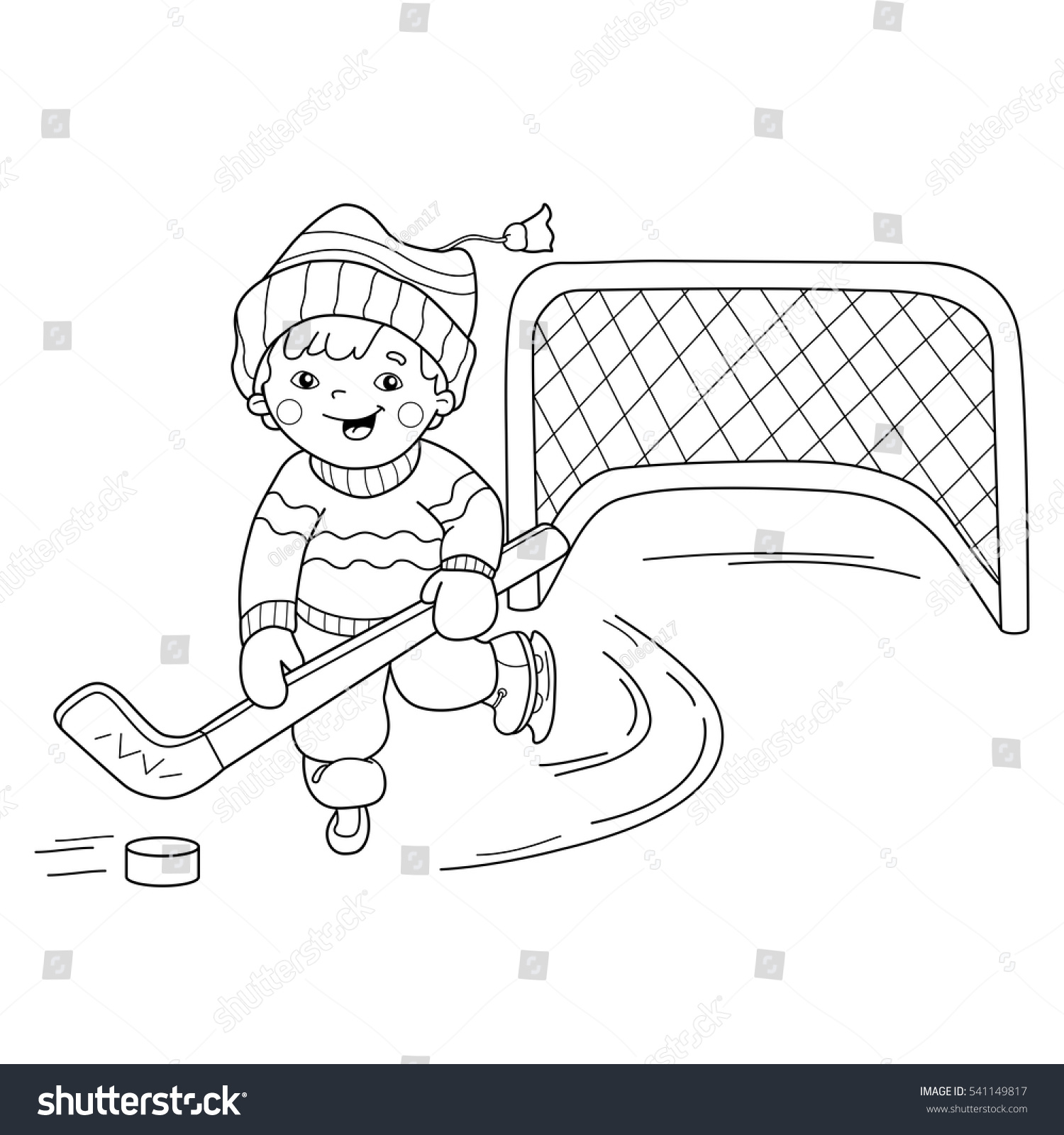 Coloring Page Outline Cartoon Boy Playing Stock Vector 541149817 ...
