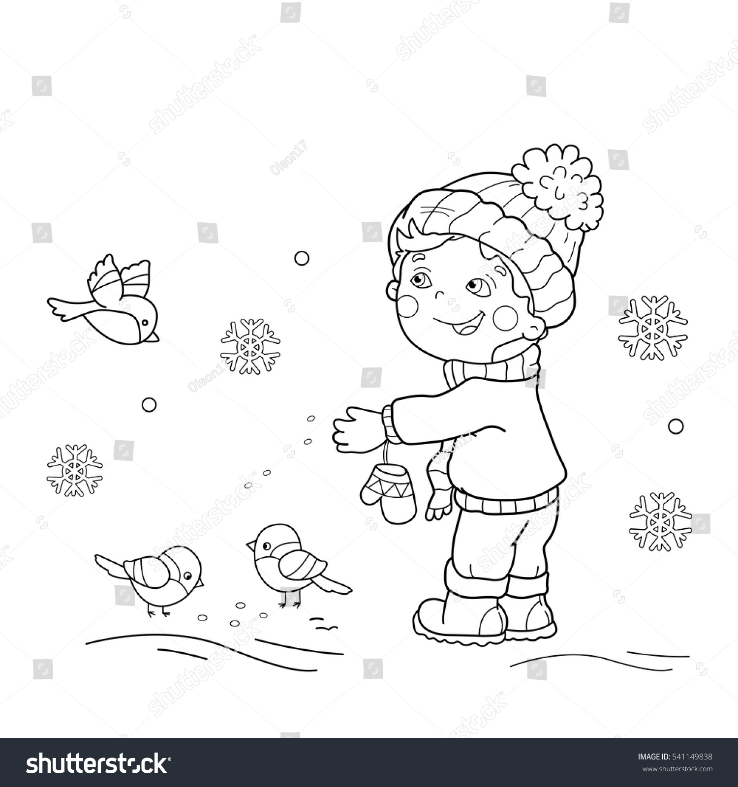 Coloring Page Outline Cartoon Boy Feeding Stock Vector (Royalty