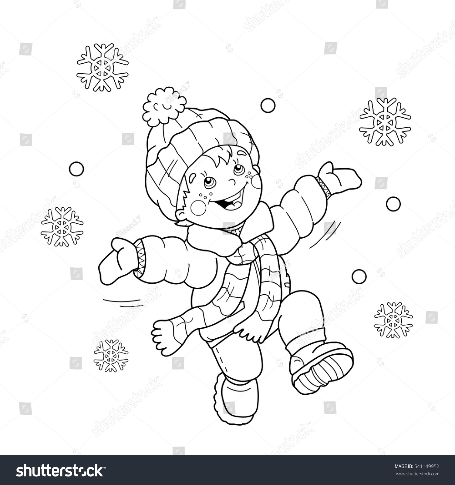 coloring page outline cartoon boy jumping stock vector 541149952
