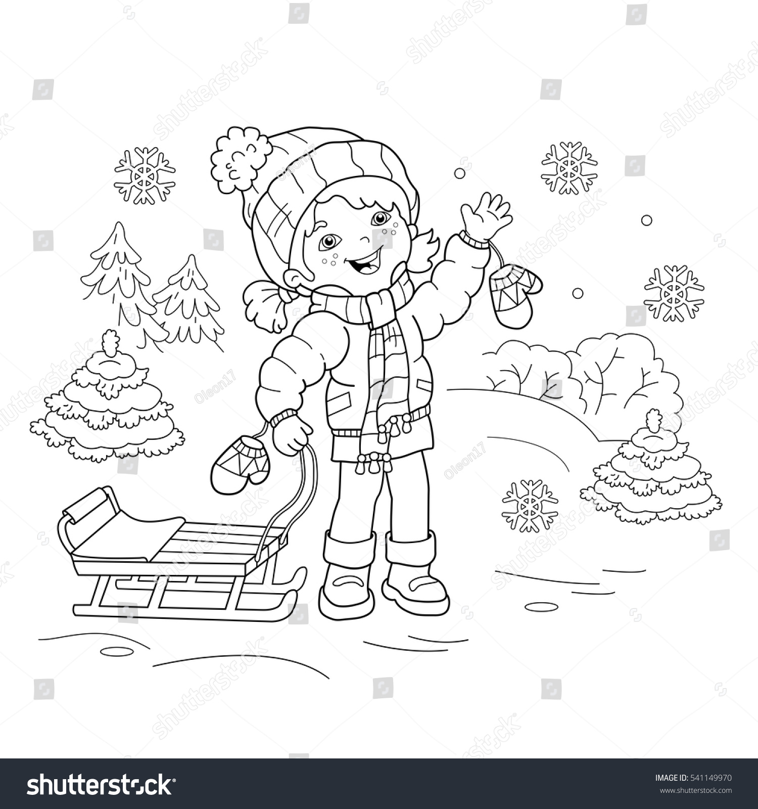 coloring page outline cartoon sled stock vector 541149970