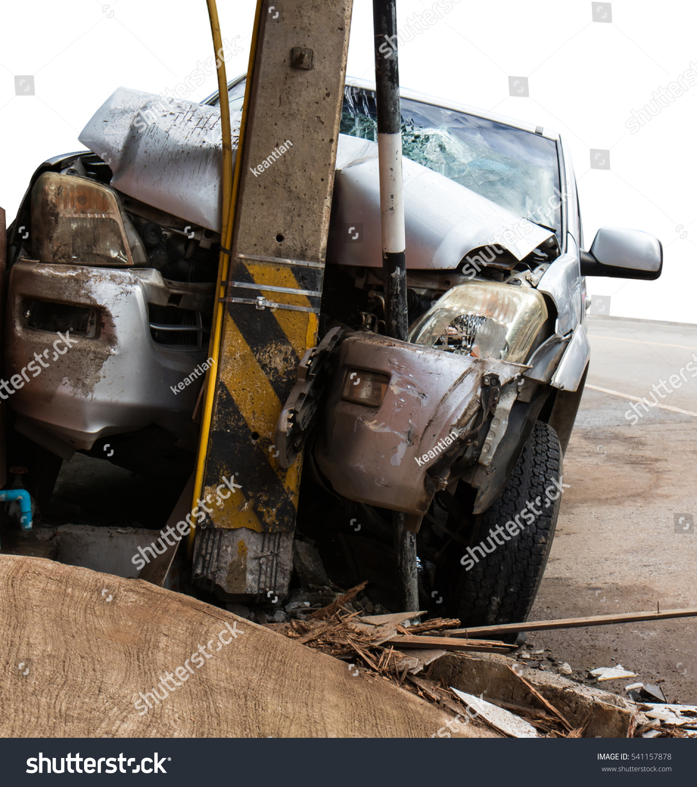 Isolate Close Front Car Crashed Into Stock Photo Edit Now