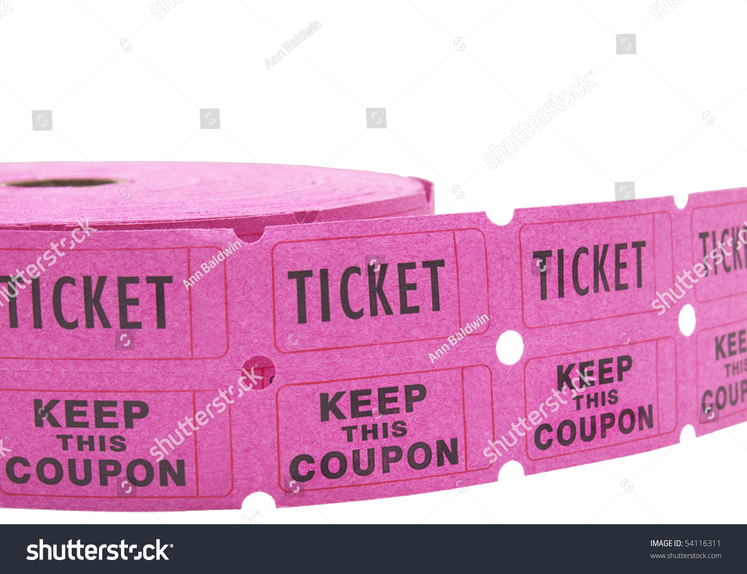 double roll of pink raffle tickets all numbers removed save to a lightbox