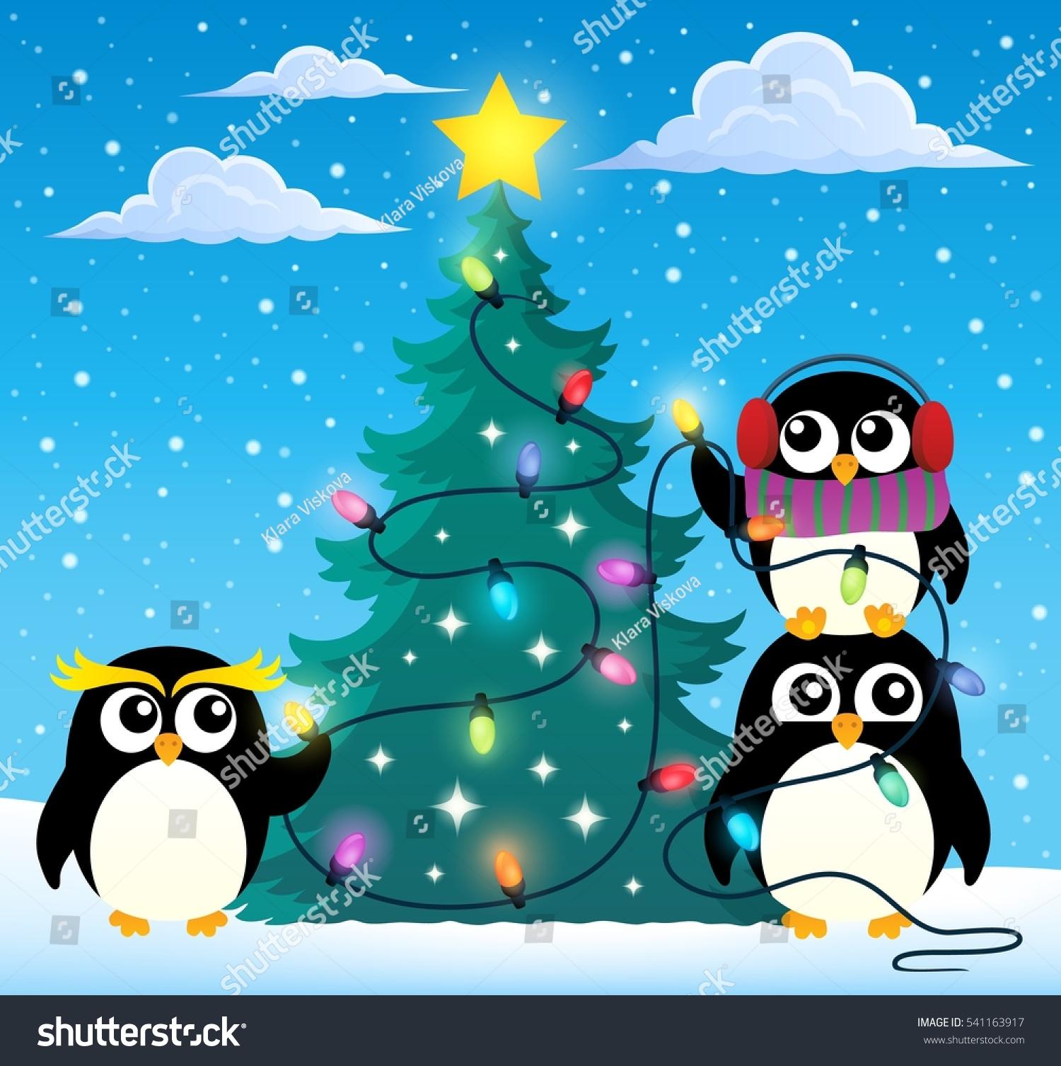 Penguins Around Christmas Tree Theme 2 Stock Vector Royalty Free 541163917