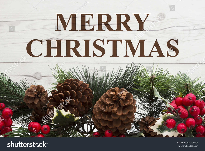 Old Fashion Christmas Greeting Garland Pine Stock Photo (Edit Now ...