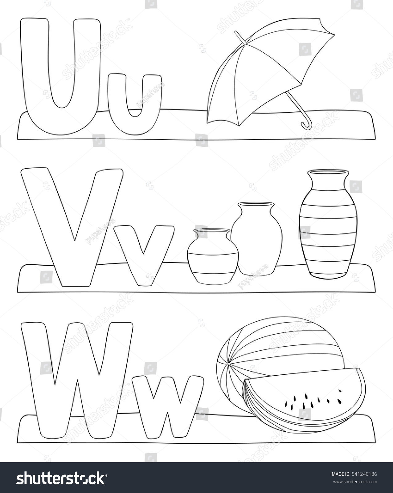 Alphabet Coloring Page Letters U V Stock Vector 541240186