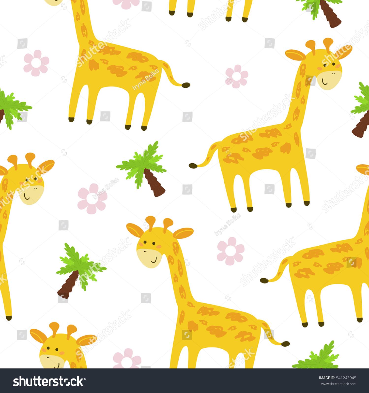 cute giraffe pattern print kids printable stock vector 541243945