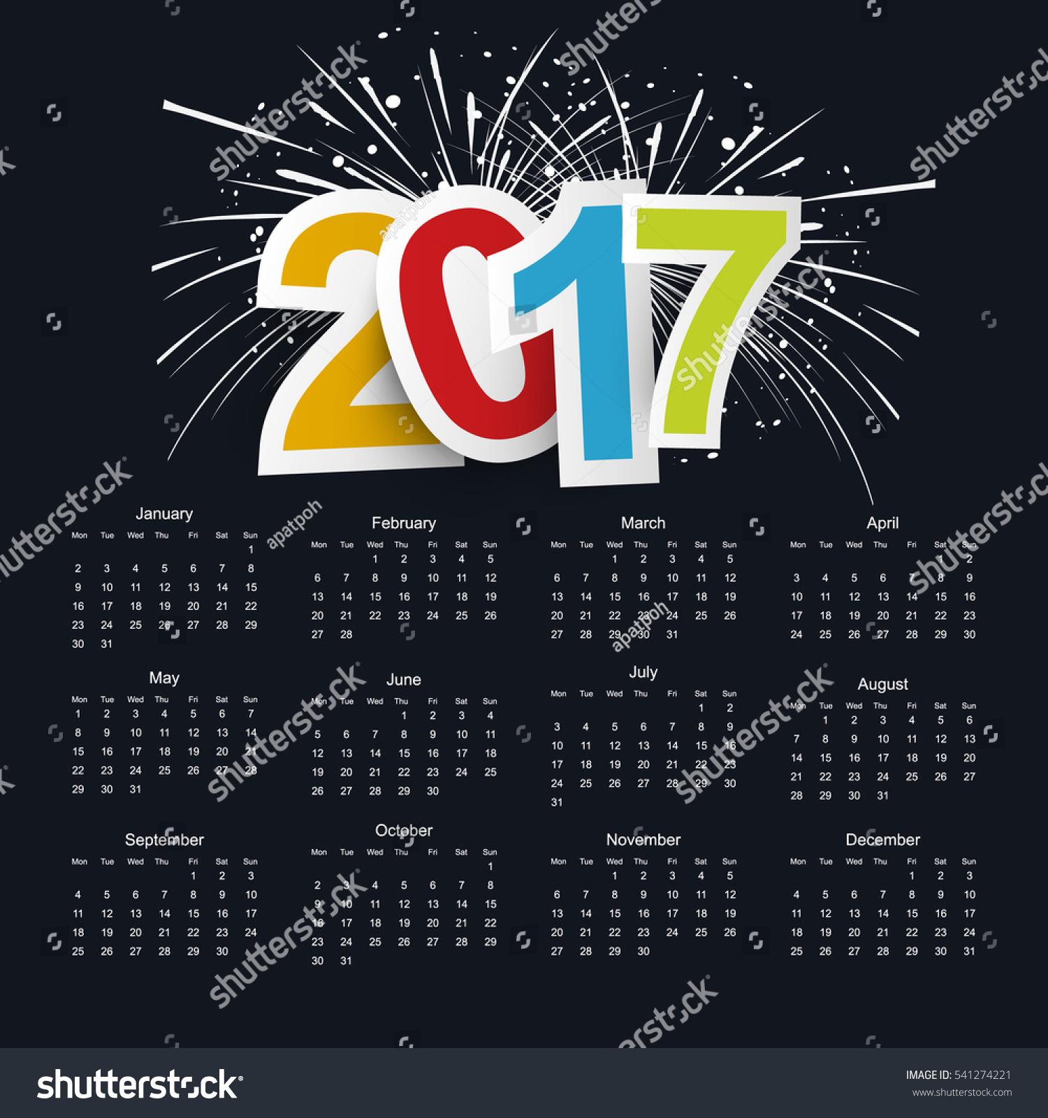 Calendar Background Vector : Calendar on black background stock vector
