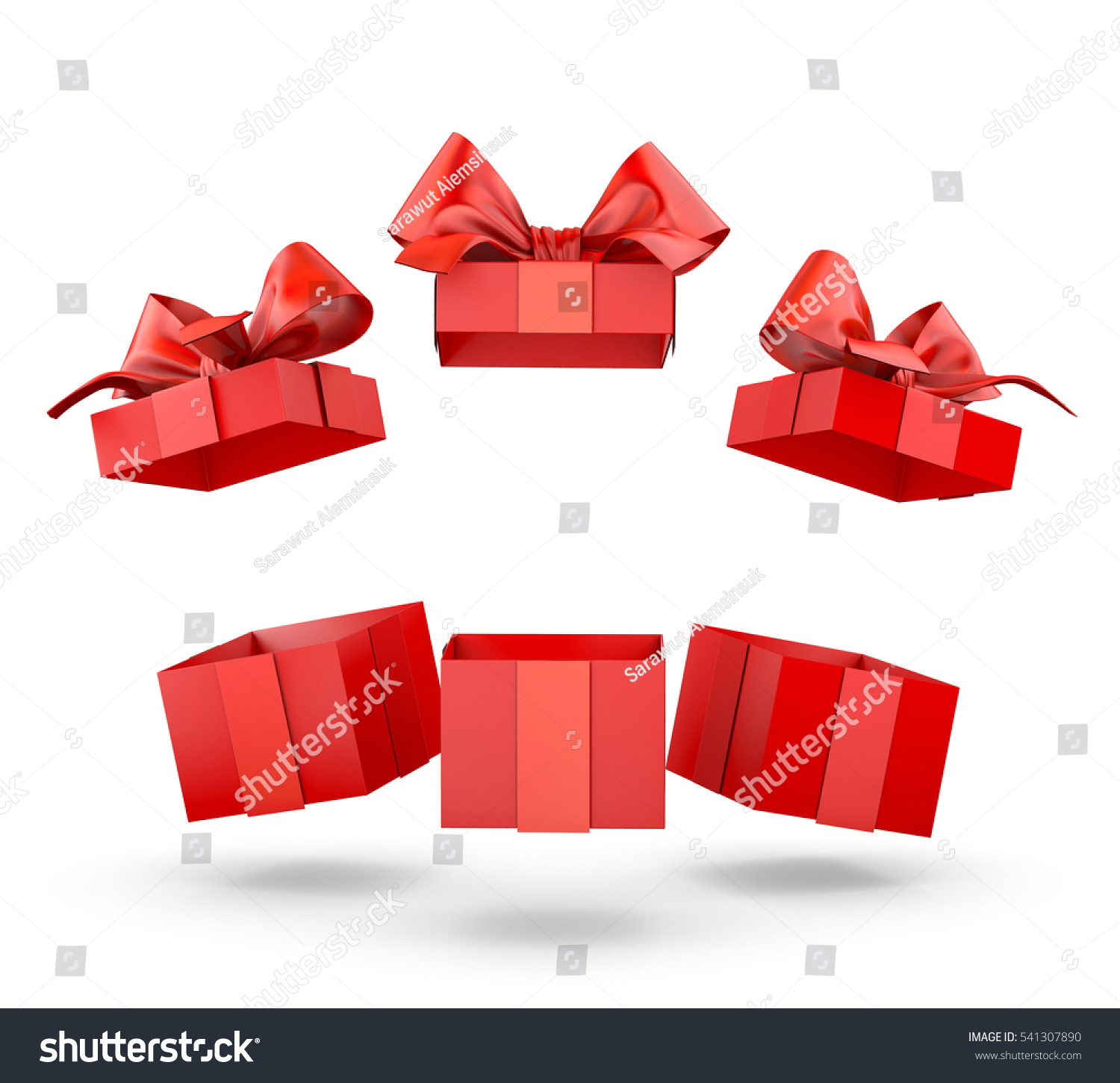christmas and new years day group three open red gift boxes white background copy space