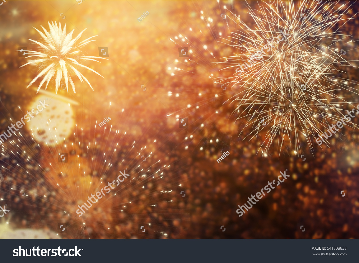 abstract holiday background Fireworks at New Year and copy space