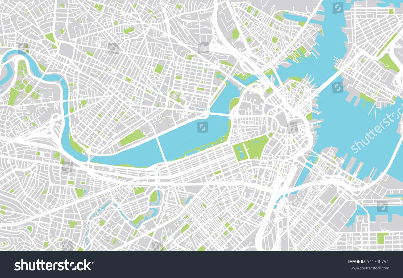 Urban City Map Boston Usa Stock Vector Shutterstock - Boston us map