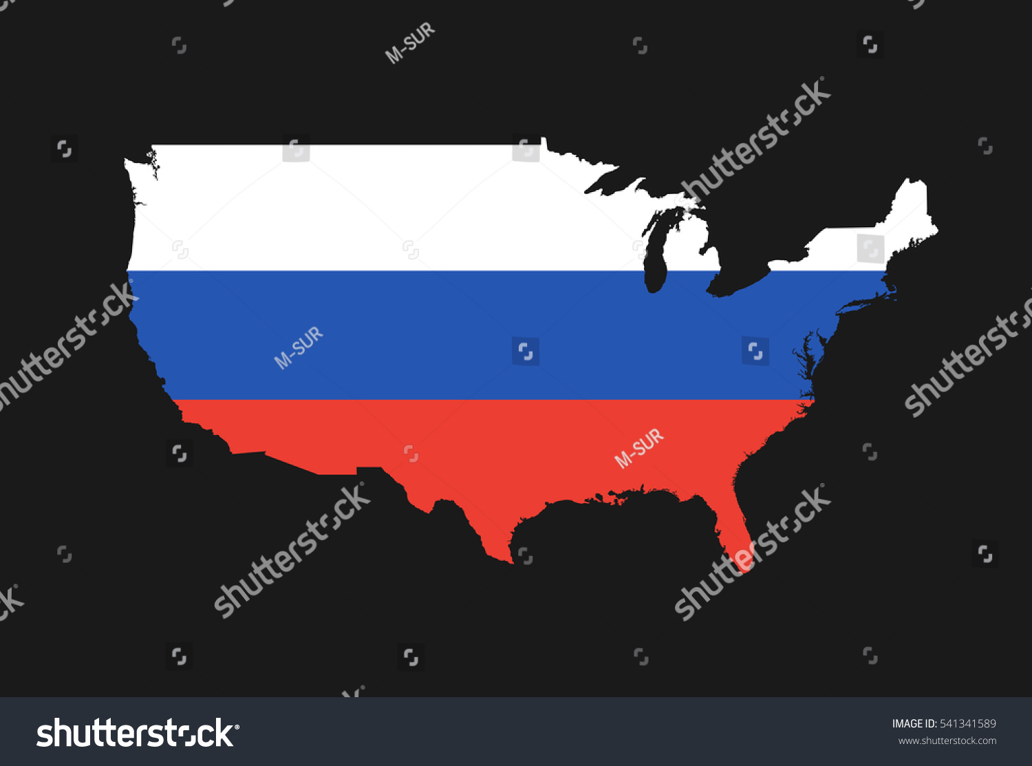Usa And Russia Map.Map Usa Colors Russia Metaphor Russian Stock Vector Royalty Free