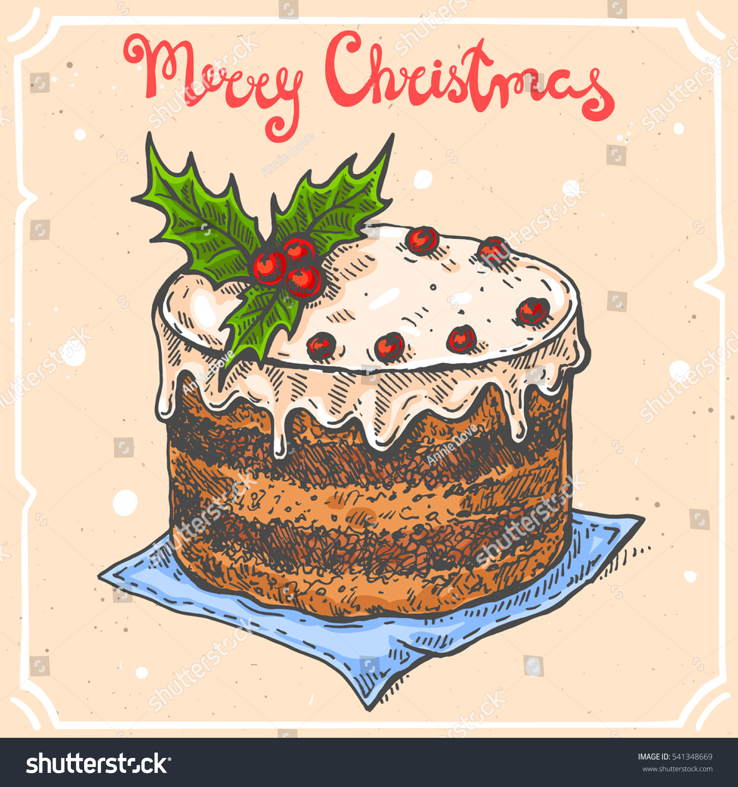 Vector Color Illustration Christmas Caketext Merry Stock Vector