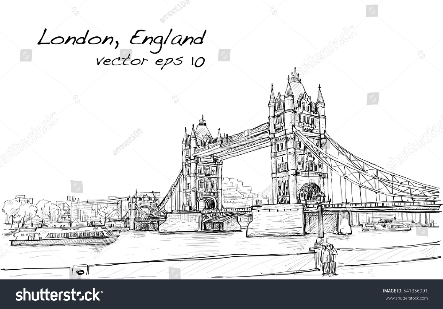 Cityscape Drawing Sketch Tower Bridge London England Illustration Vector