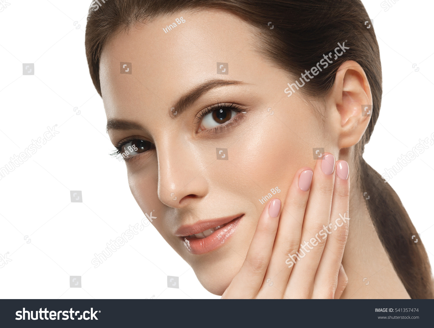 Beauty Woman face Portrait Beautiful model Girl with Perfect Fresh Clean Skin brunette short hair Youth and Skin Care Concept Isolated on a white background