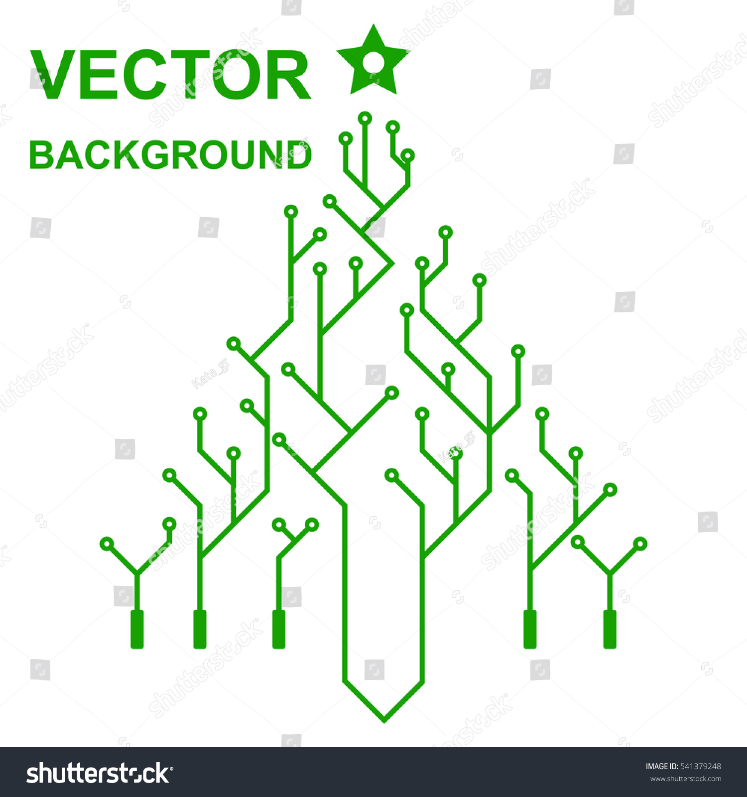 Technology Icon Logo Printed Circuit Board Stock Vector Royalty Of Illustration A Green With Christmas Tree New Year Flat Design
