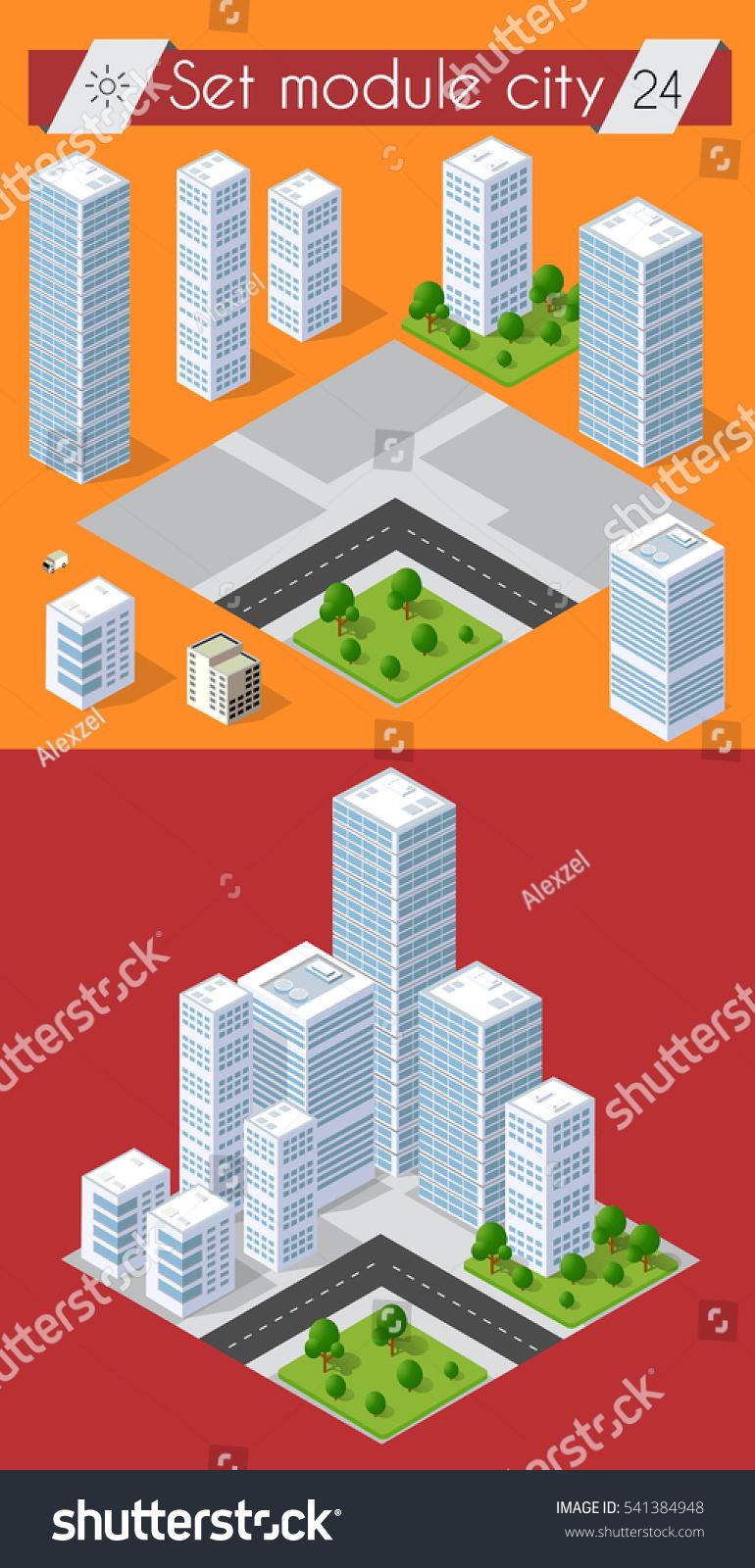 Cityscape Design Elements Isometric Building City Stock Vector ... on