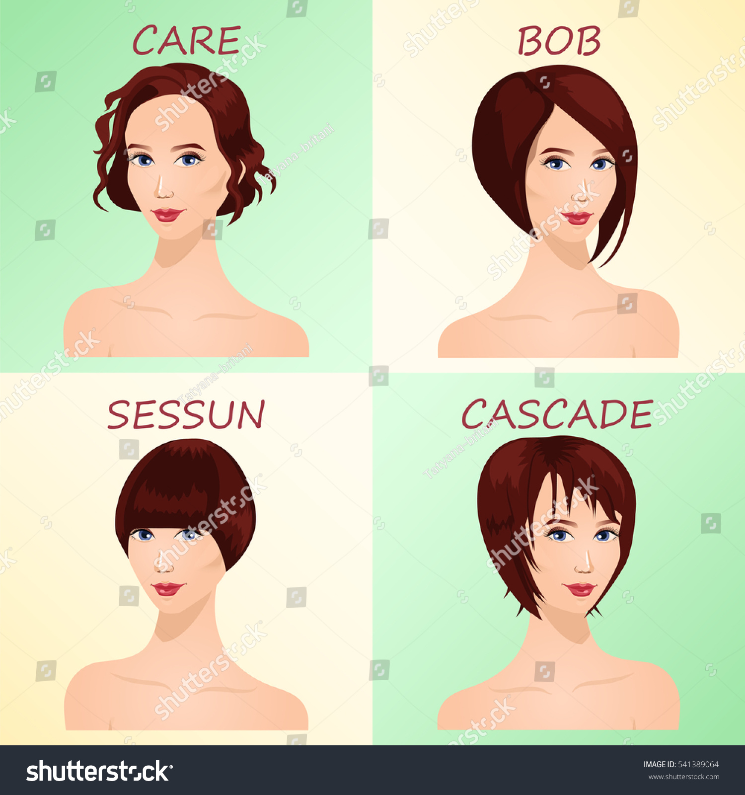 Four Basic Types Short Haircuts Women Stock Vector (Royalty Free) 541389064
