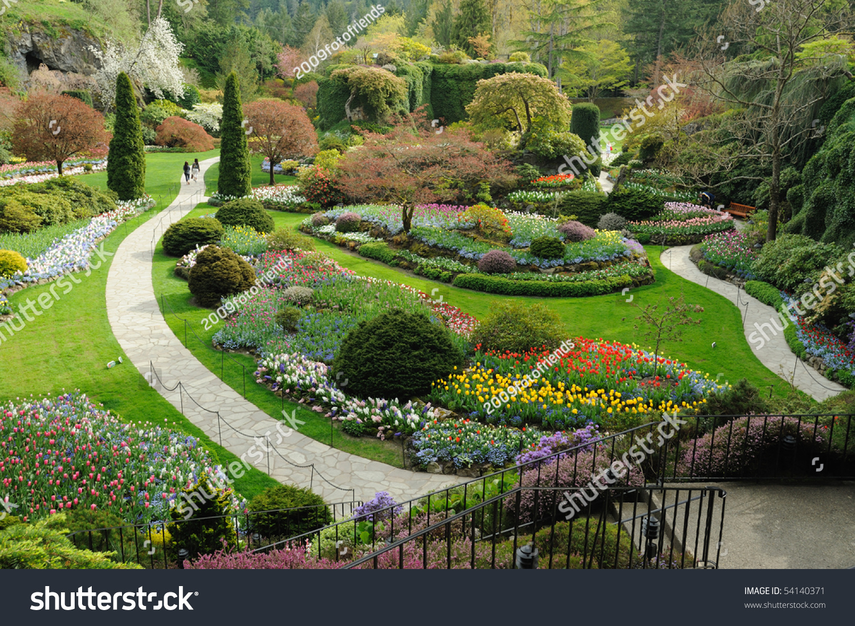 Sunken garden landscaping historic butchart gardens stock for Gardening tools victoria bc