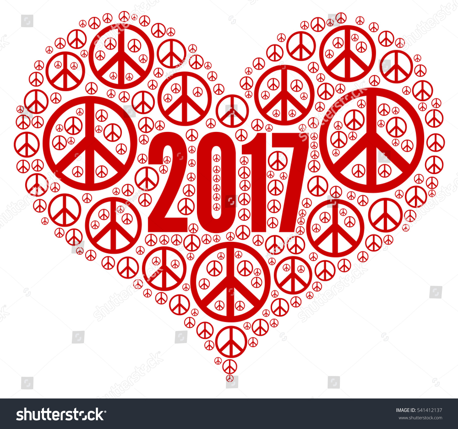 Peace Heart Symbol 2017 Stock Illustration 541412137 Shutterstock