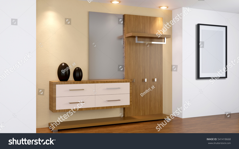 Modern Interior Small Apartment Hallway 3d Stock