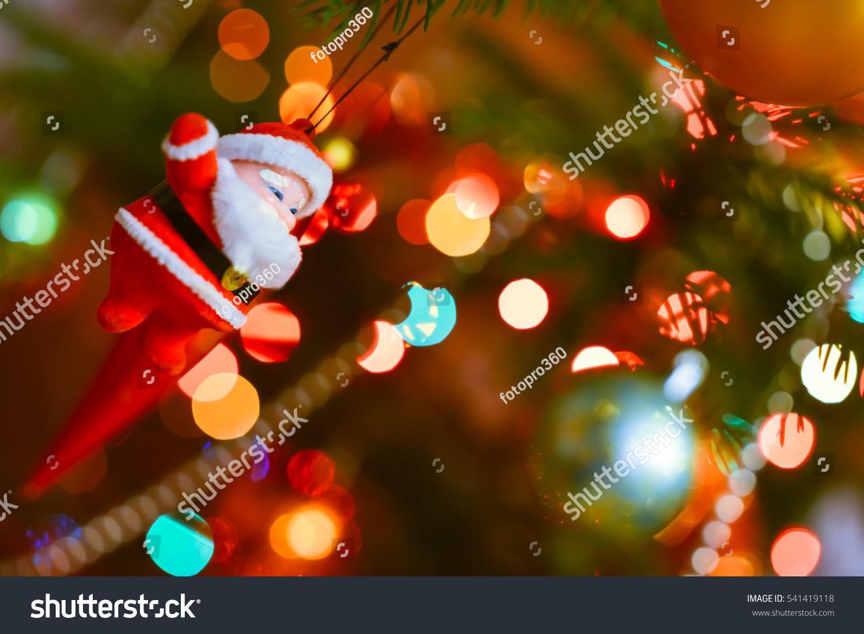 small santa claus statue christmas tree stock photo. Black Bedroom Furniture Sets. Home Design Ideas