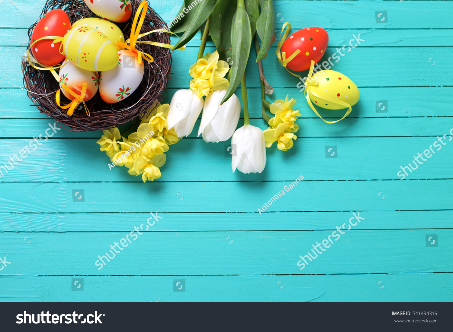 Decorative Easter Eggs Nest Bright Spring Stock Photo Royalty Free