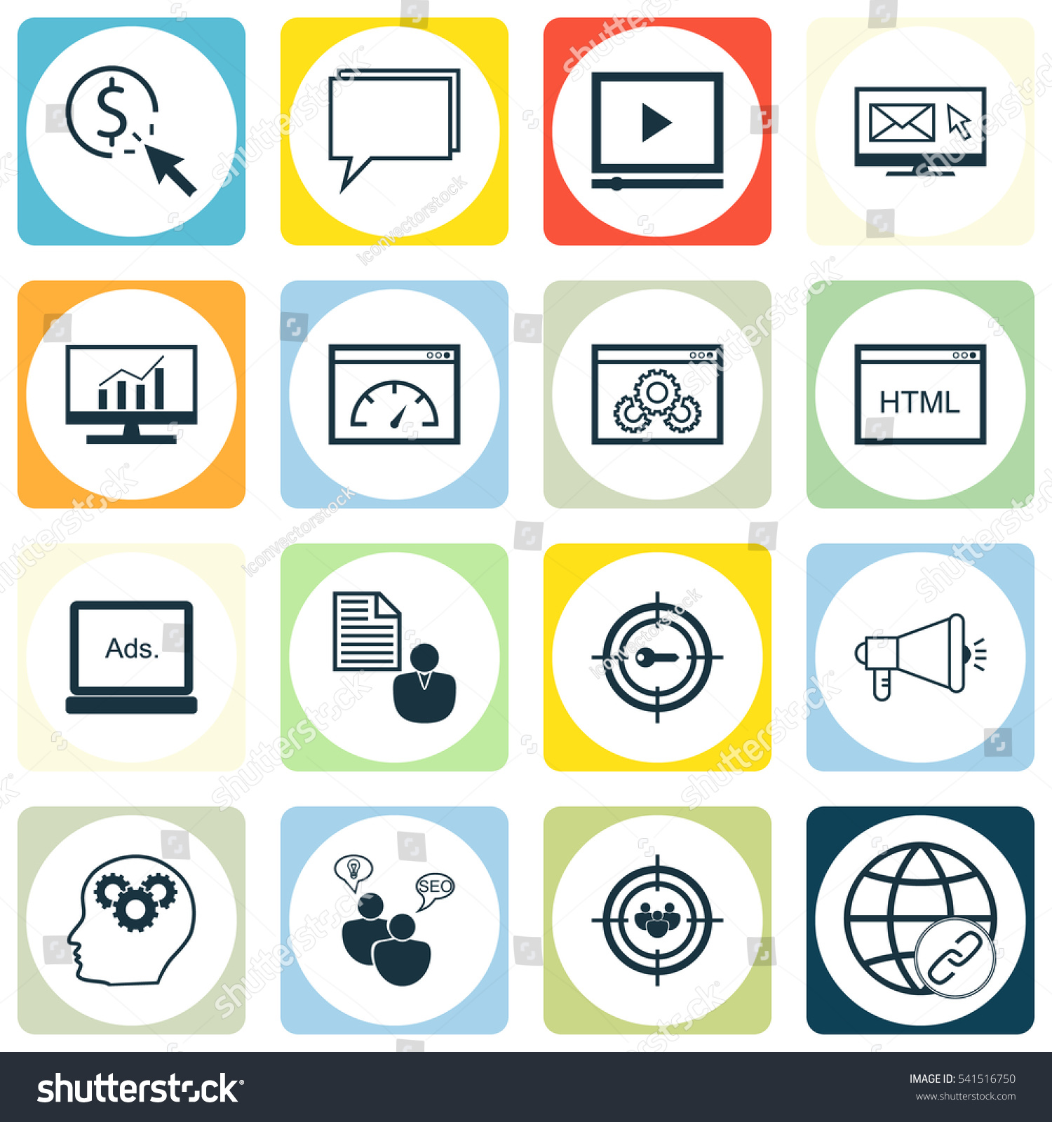 Set 16 Seo Icons Includes Search Stock Vector 541516750 Shutterstock