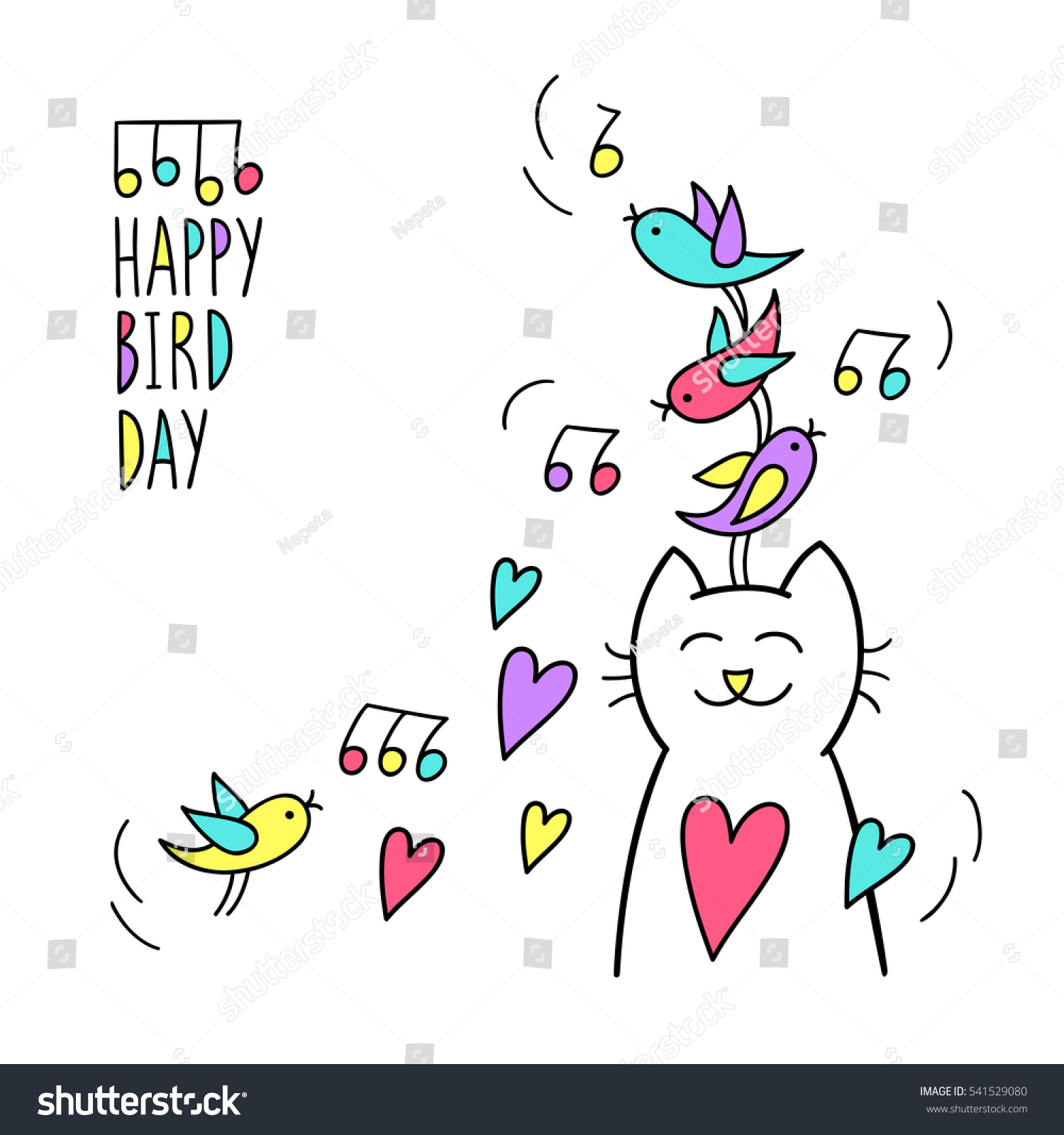 Happy Bird Day Birthday Greeting Card Stock Vector Royalty Free
