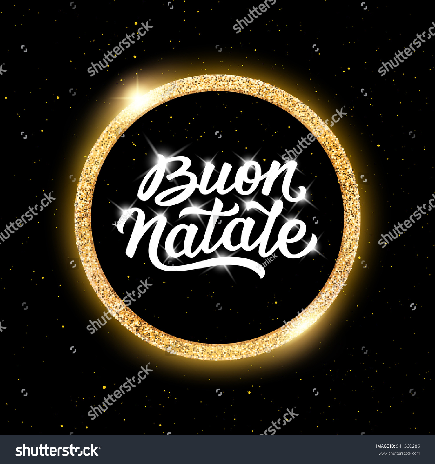Merry christmas greetings text italian language stock illustration merry christmas greetings text in italian language in center of round golden frame on black background kristyandbryce Gallery