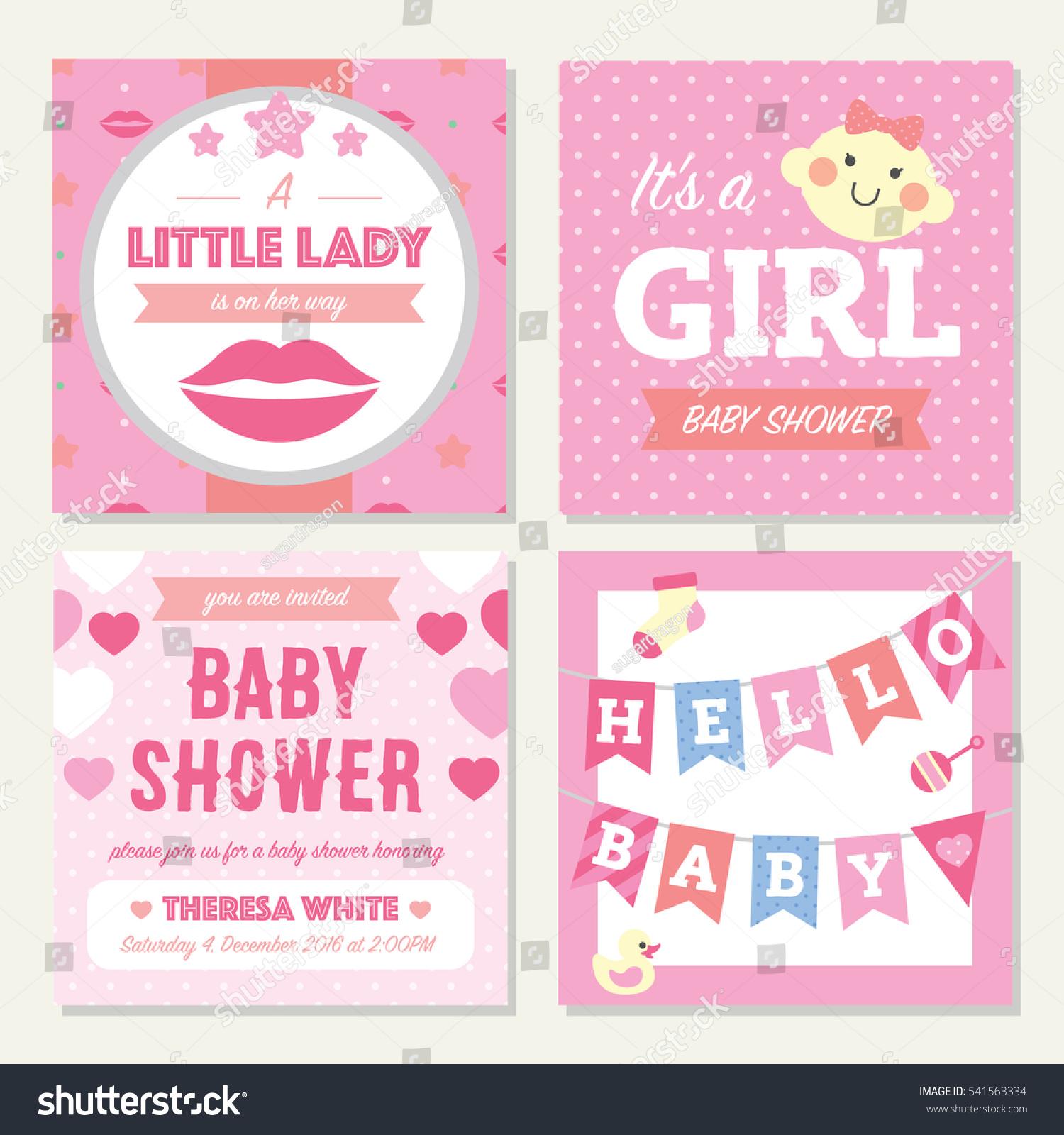 Baby Shower Girl Invitation Template Stock Vector (2018) 541563334 ...