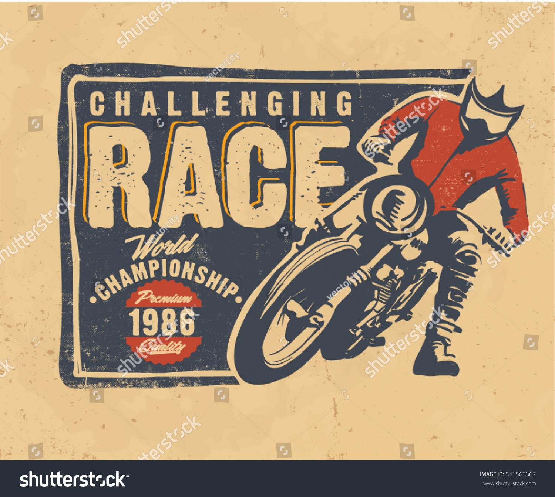 Design t shirt motocross - Motorcycle Motocross Vector T Shirt Design Vintage Typography Label