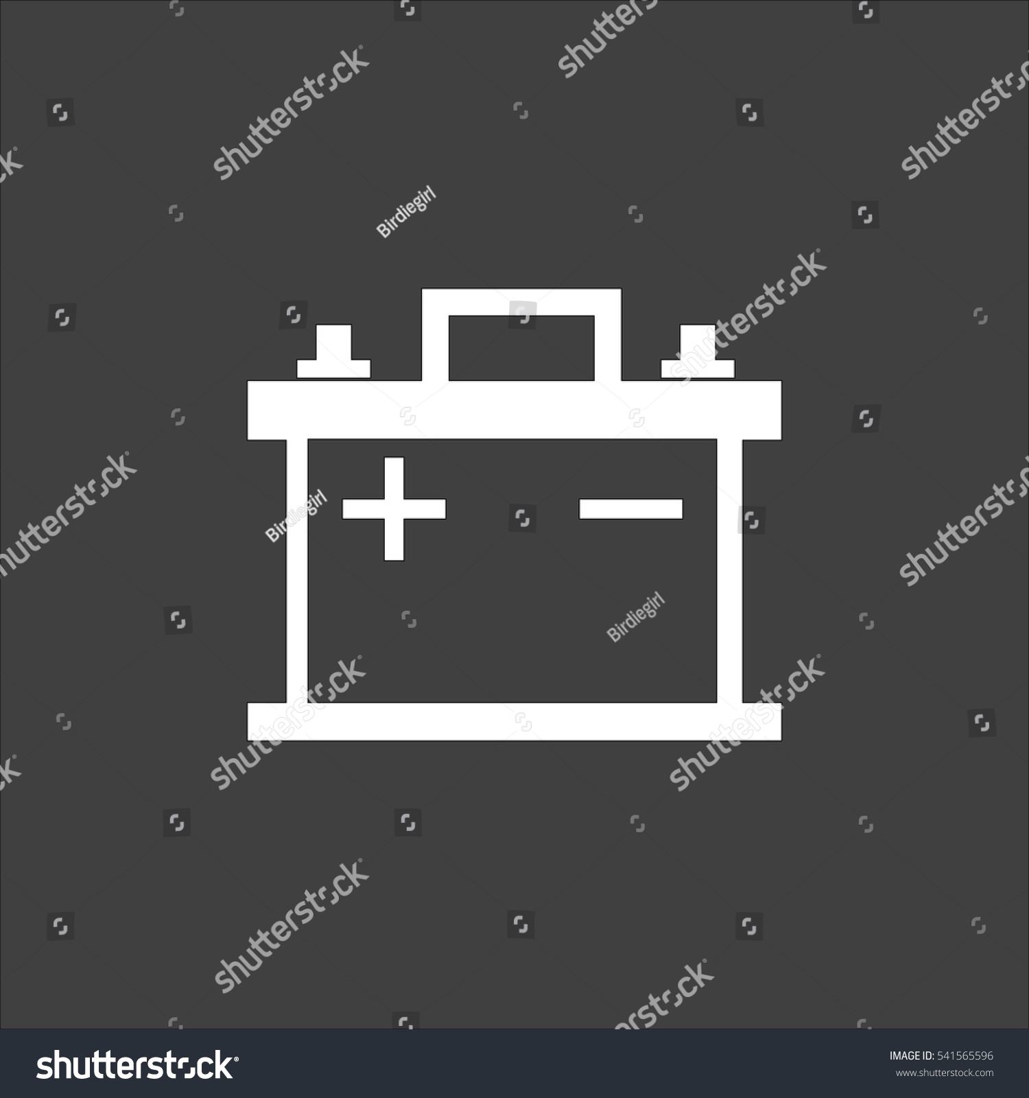 Car Battery Icon Flat Vector White Stock Vector 541565596 ... for Car Battery Symbol  146hul