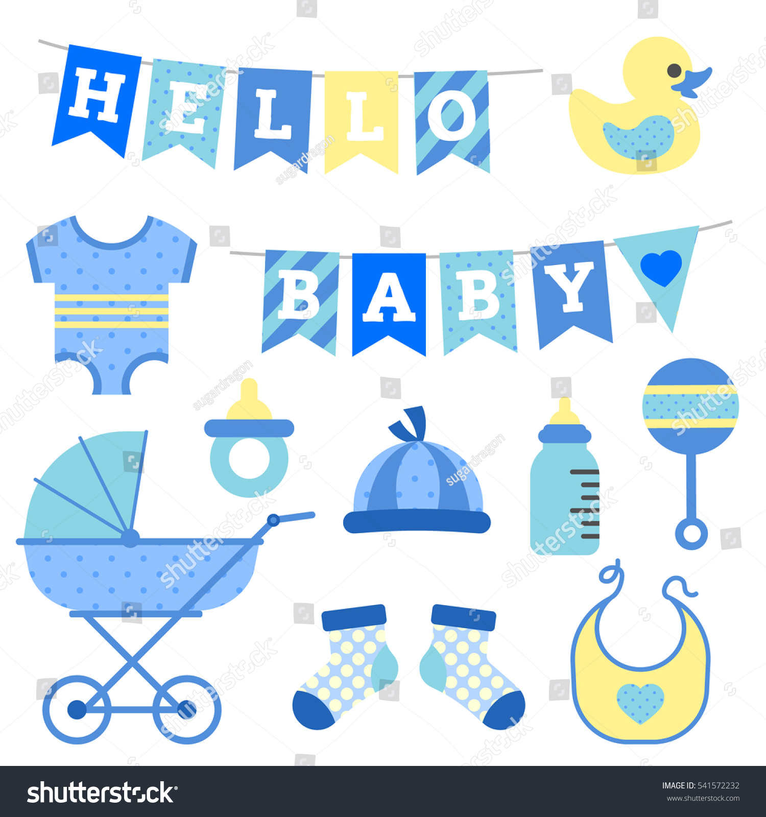 Baby Boy Shower Object Clip Art Stock Vector Royalty Free 541572232