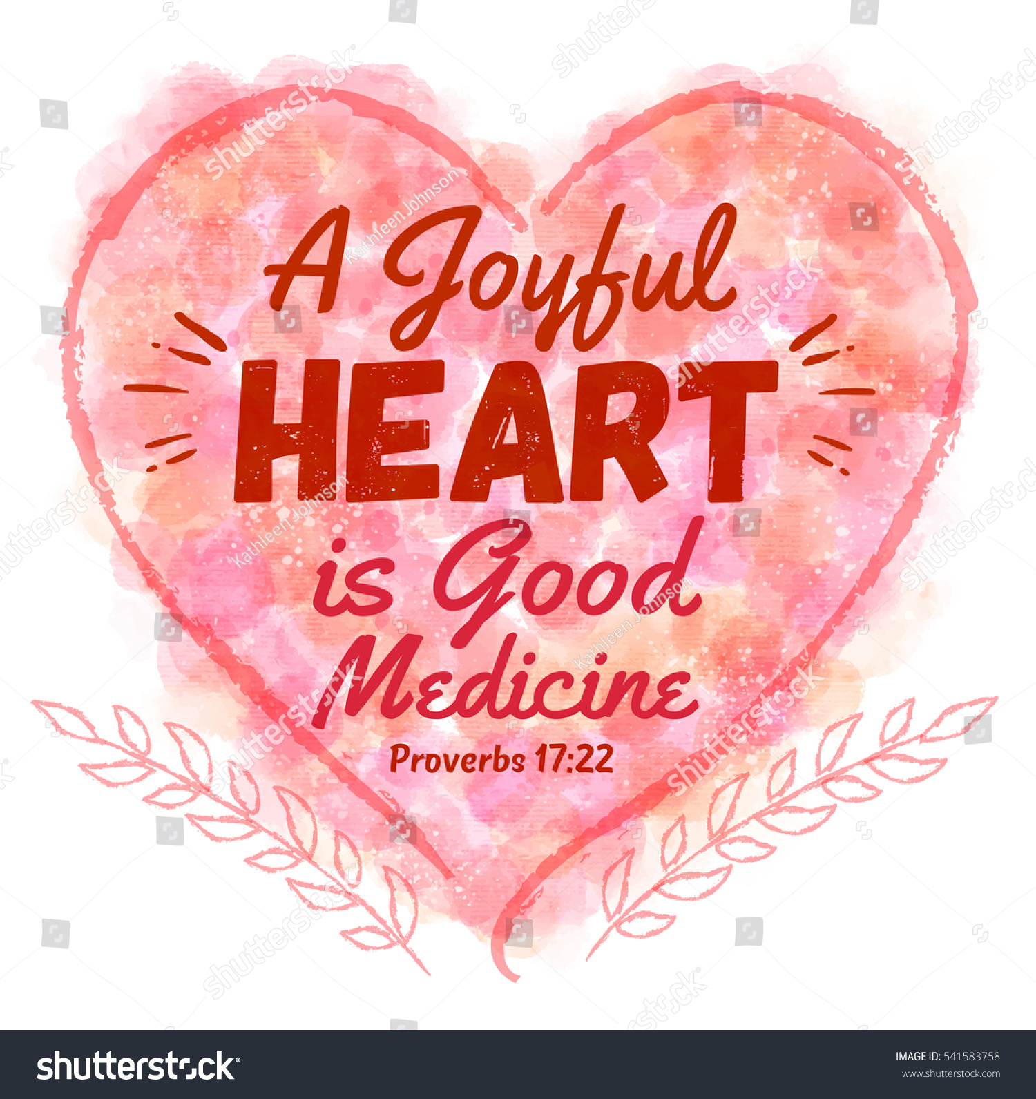 Joyful heart good medicine bible verse stock illustration 541583758 a joyful heart is good medicine bible verse art in watercolor heart with laurels from proverbs freerunsca Image collections