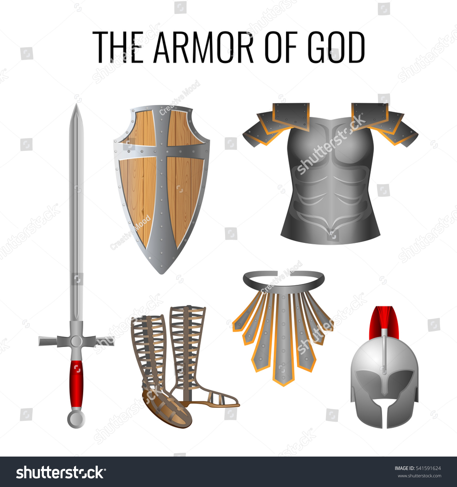 set armor god elements isolated on stock vector 541591624