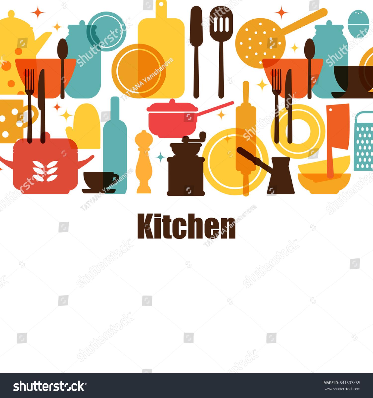 Vector set kitchen utensils cooking kitchen stock vector for Kitchen set video song