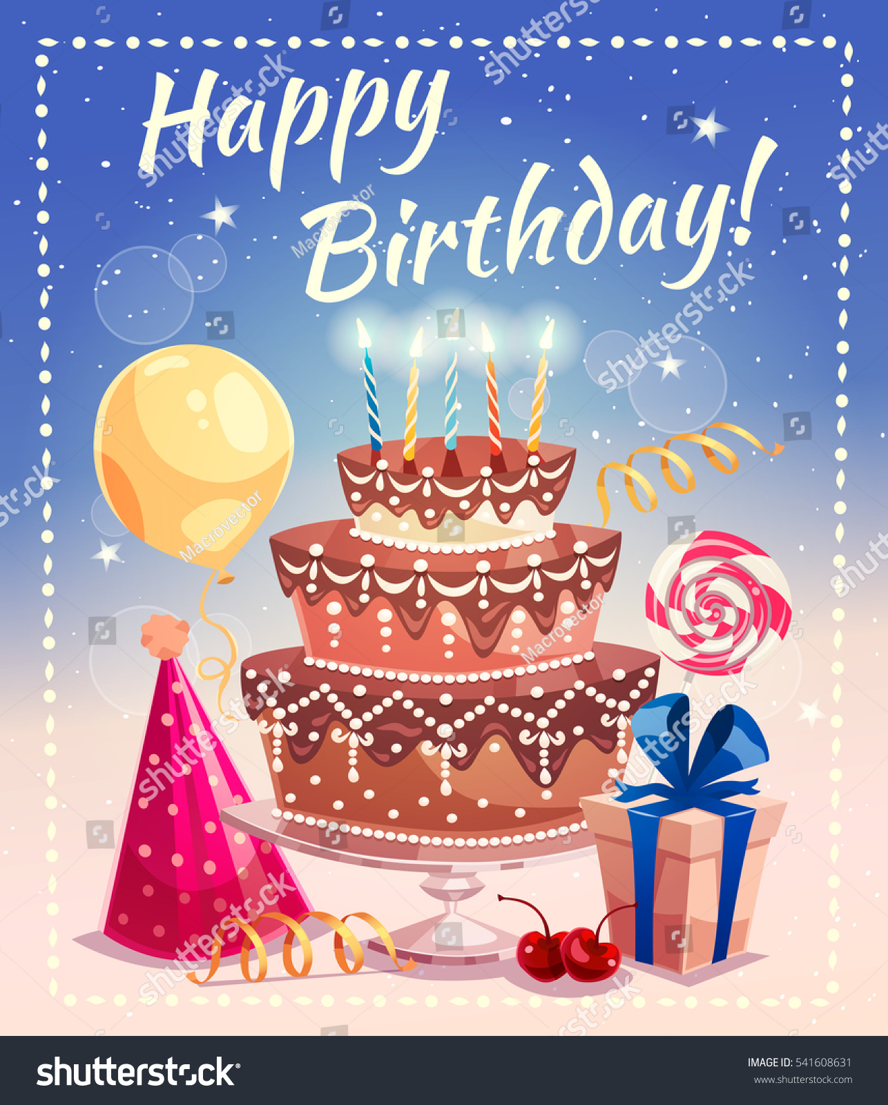 Happy Birthday Greeting Card Big Cake Stock Vector Royalty Free