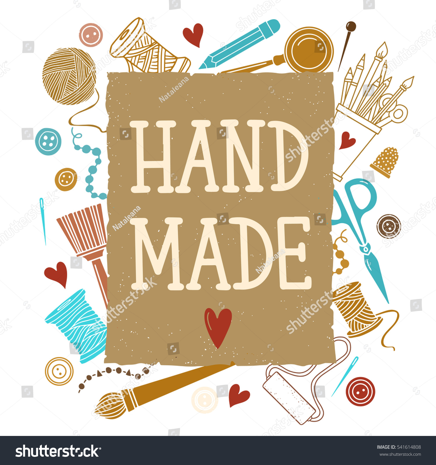 Arts crafts sewing hand drawn supplies stock vector for Arts and crafts supplies online