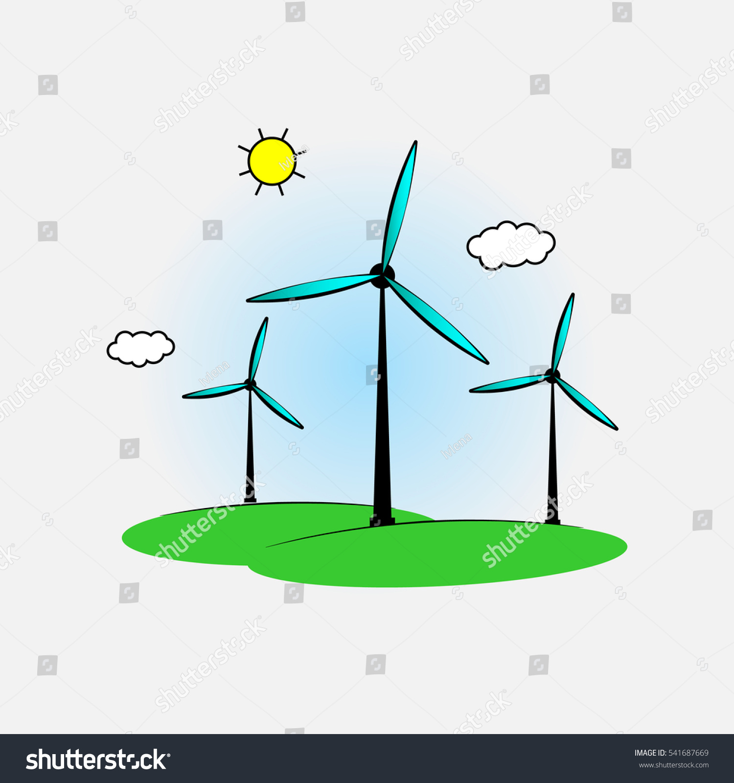 Wind Power Generators Eps 10 Vector Stock Royalty Free Diagram Also Generator Diagrams On Turbine Illustration Energy Ecological Concept