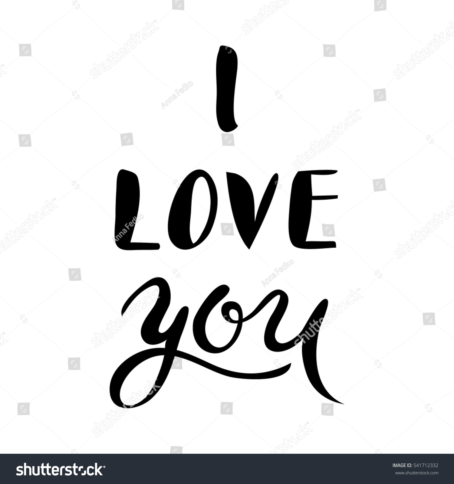 I love you hand lettering handmade stock vector 541712332 I love you calligraphy