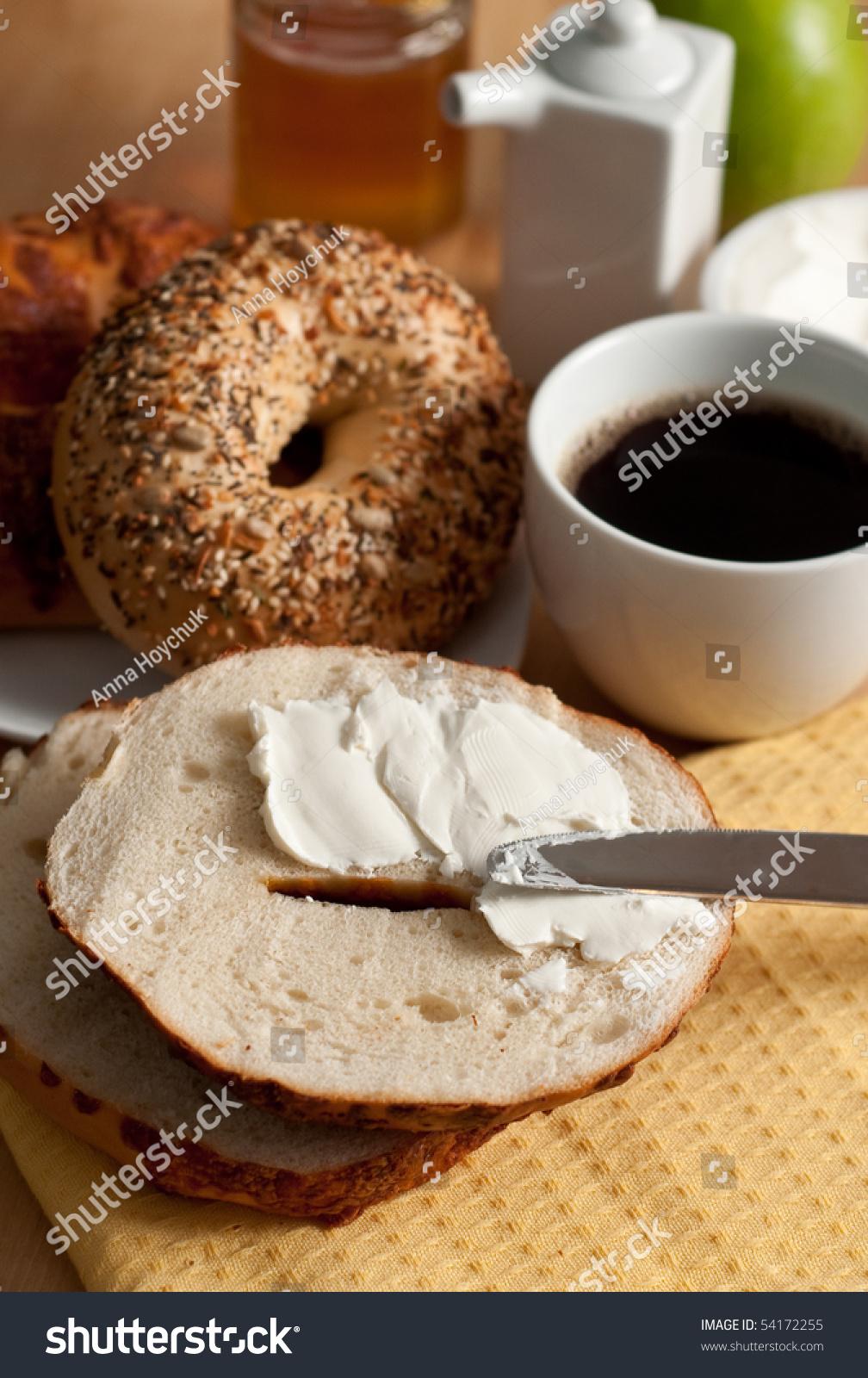Bagel Cream Cheese Coffee Stock Photo 54172255 - Shutterstock