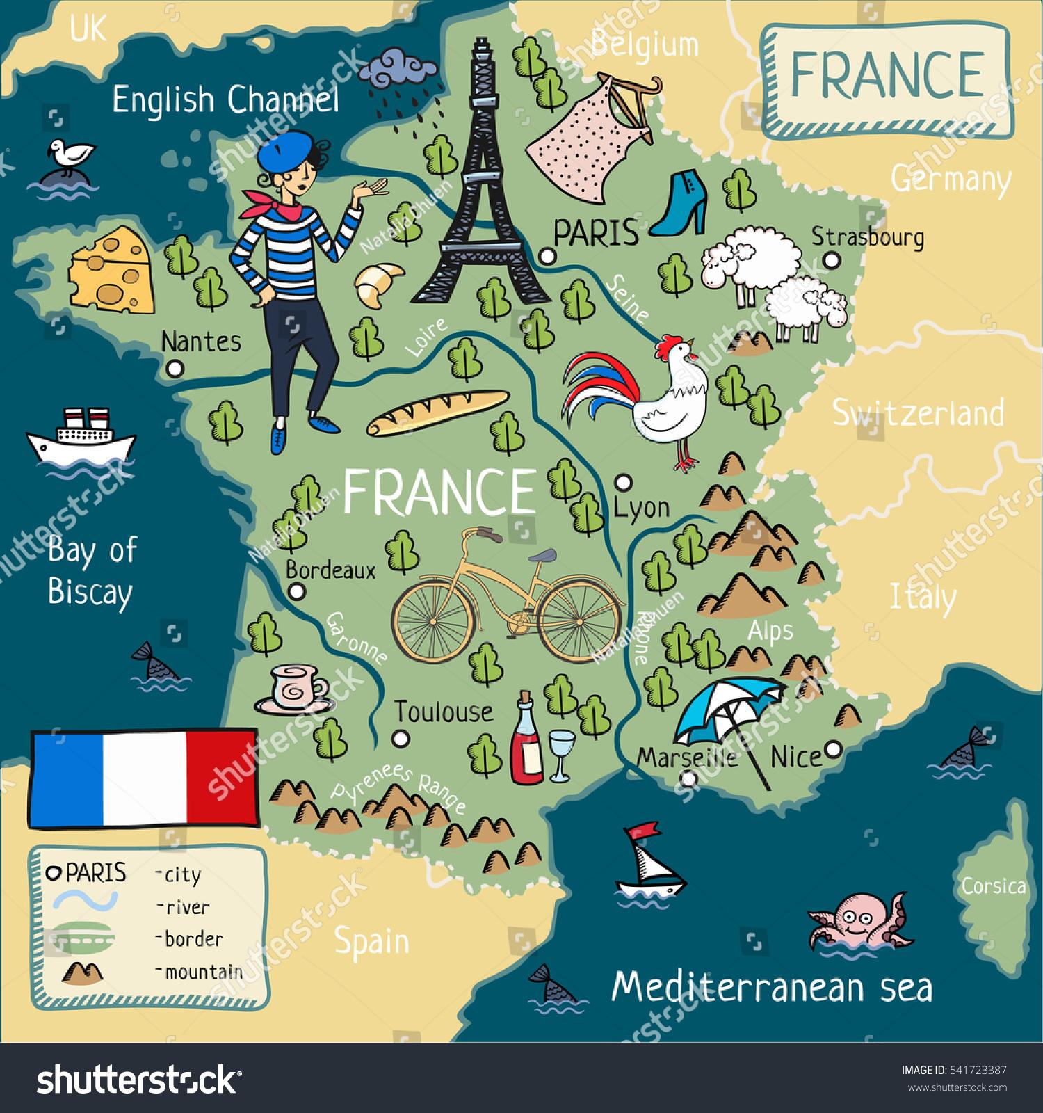 Cartoon Map France Stockillustration 541723387 – Shutterstock
