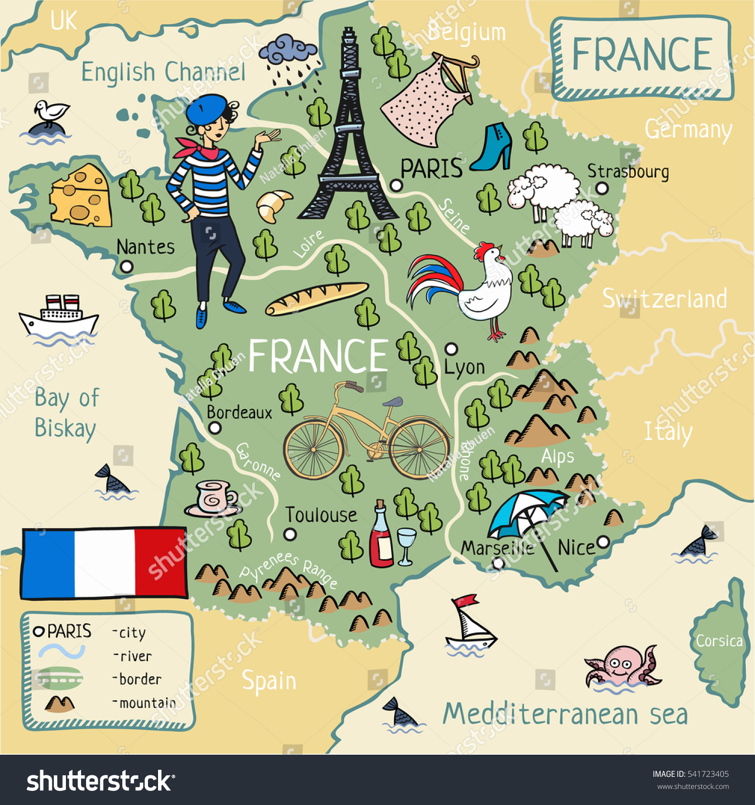 Cartoon Map France Stock Illustration Shutterstock - Germany map cartoon
