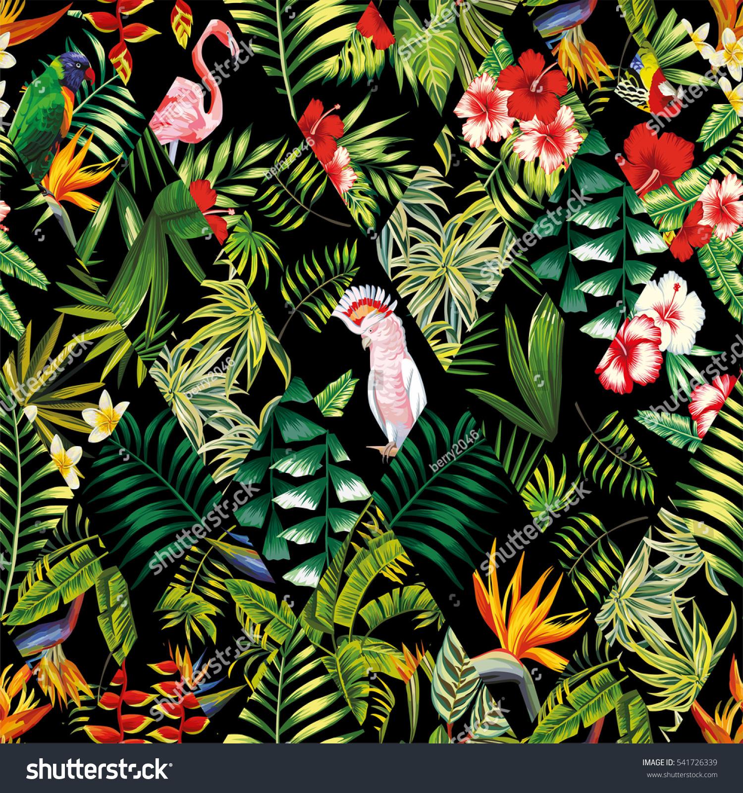 Exotic Beach Trendy Seamless Pattern Patchwork Stock ...