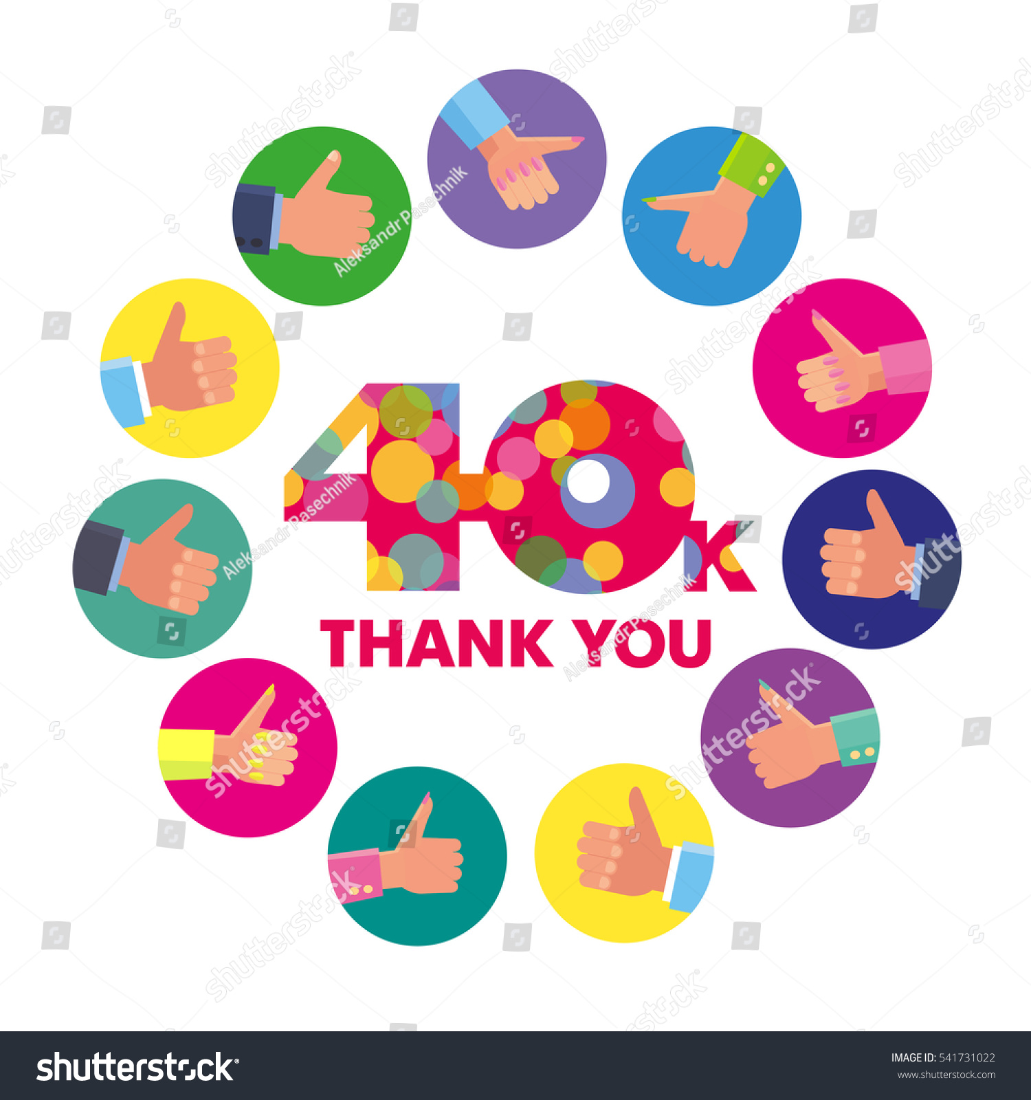 Vector template 40k thanks subscribers greetings stock vector 2018 vector template 40k thanks subscribers greetings colorful figures like m4hsunfo